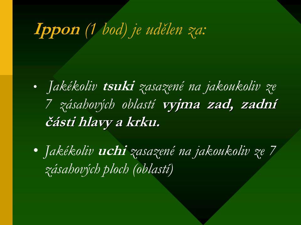 Ippon (1 bod) je udělen za: vyjma zad, zadní části hlavy a krku. Jakékoliv tsuki zasazené na jakoukoliv ze 7 zásahových oblastí vyjma zad, zadní části