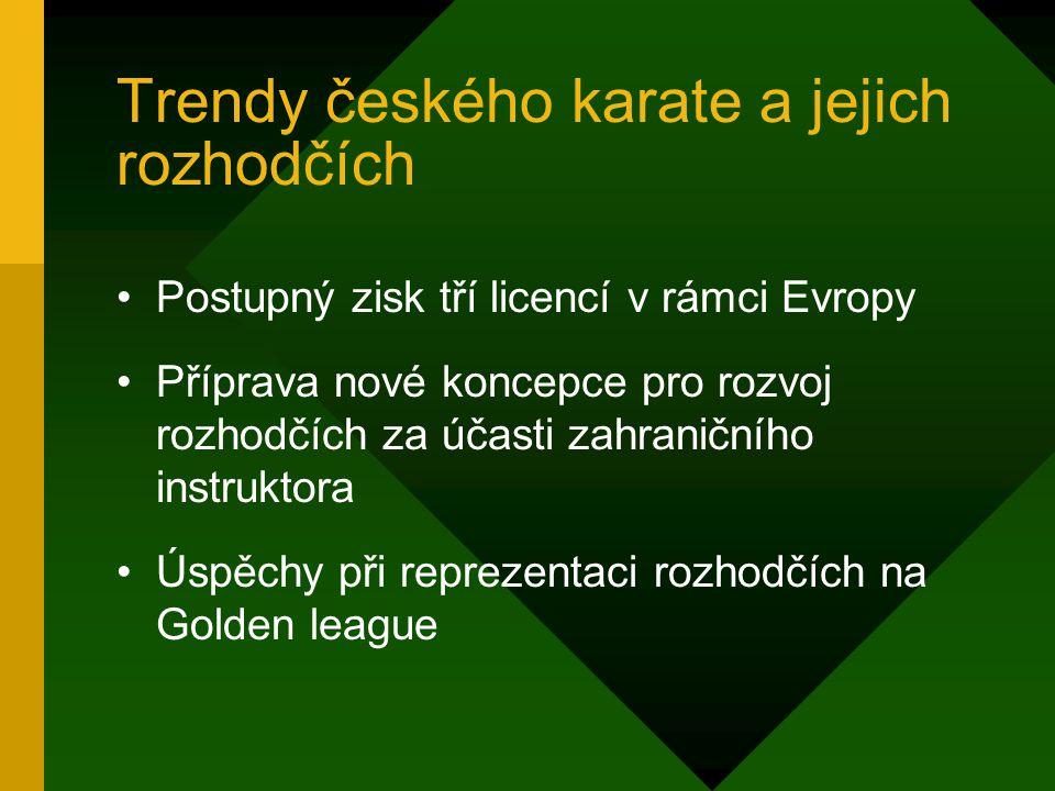 Trendy českého karate a jejich rozhodčích Postupný zisk tří licencí v rámci Evropy Příprava nové koncepce pro rozvoj rozhodčích za účasti zahraničního instruktora Úspěchy při reprezentaci rozhodčích na Golden league