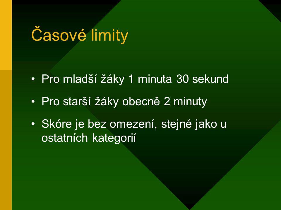 Časové limity Pro mladší žáky 1 minuta 30 sekund Pro starší žáky obecně 2 minuty Skóre je bez omezení, stejné jako u ostatních kategorií