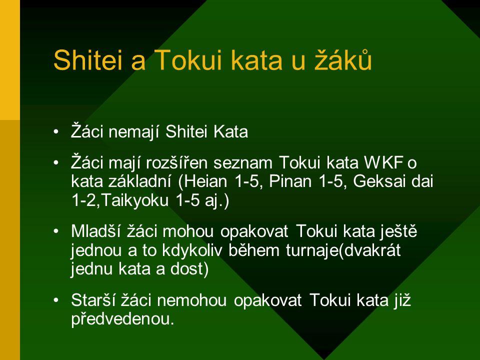 Shitei a Tokui kata u žáků Žáci nemají Shitei Kata Žáci mají rozšířen seznam Tokui kata WKF o kata základní (Heian 1-5, Pinan 1-5, Geksai dai 1-2,Taikyoku 1-5 aj.) Mladší žáci mohou opakovat Tokui kata ještě jednou a to kdykoliv během turnaje(dvakrát jednu kata a dost) Starší žáci nemohou opakovat Tokui kata již předvedenou.