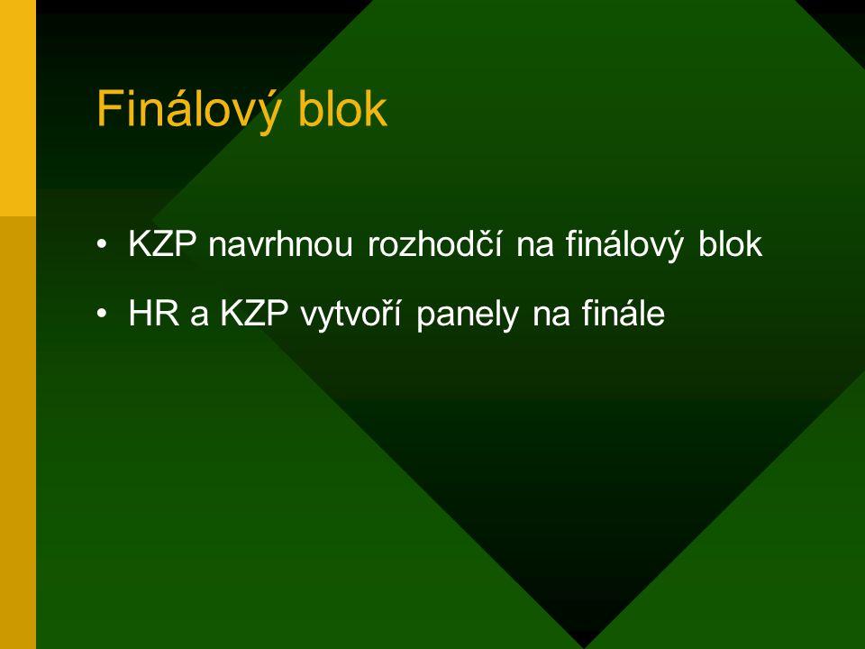 Finálový blok KZP navrhnou rozhodčí na finálový blok HR a KZP vytvoří panely na finále