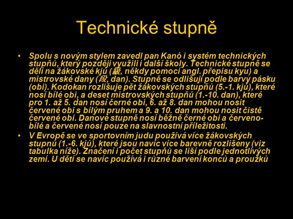 Technické stupně Spolu s novým stylem zavedl pan Kanó i systém technických stupňů, který později využili i další školy. Technické stupně se dělí na žá
