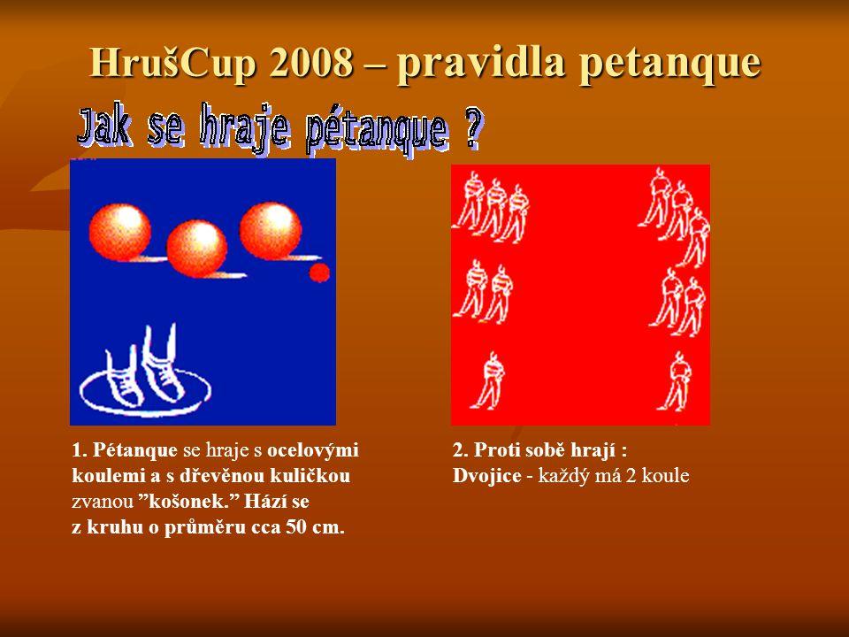 HrušCup 2008 – pravidla petanque 3.Cílem hry je: umístit své koule blíže ke košonku než soupeřovi.