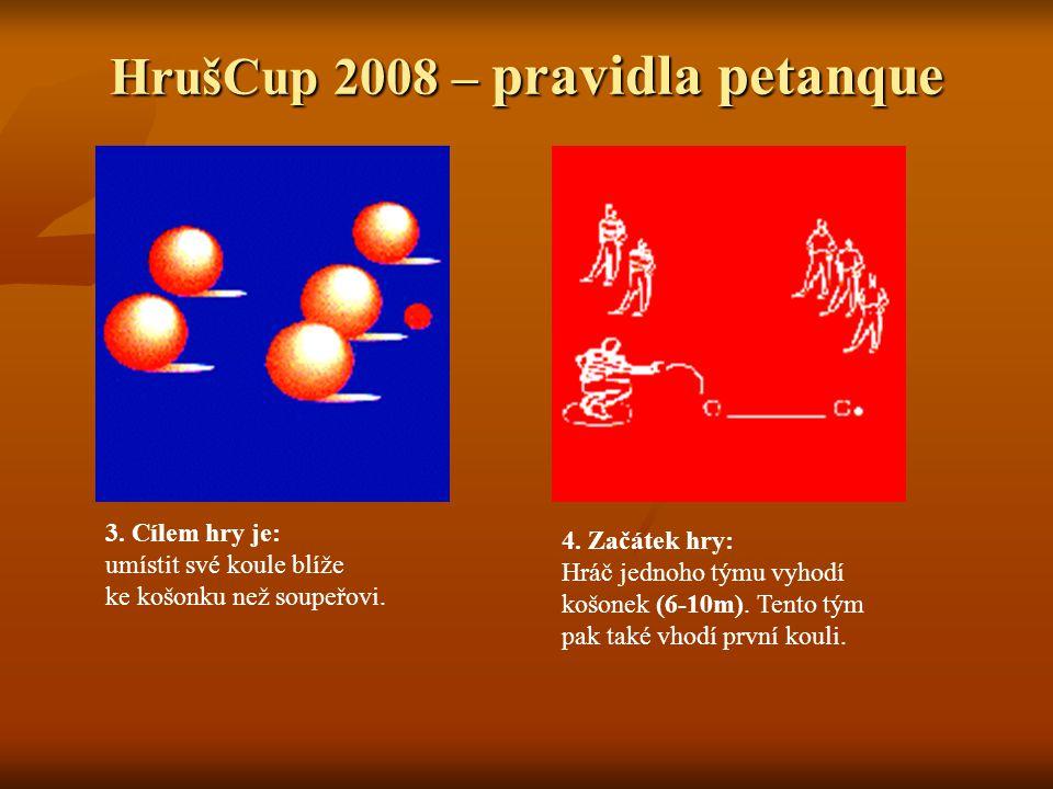 HrušCup 2008 – pravidla petanque 3. Cílem hry je: umístit své koule blíže ke košonku než soupeřovi.