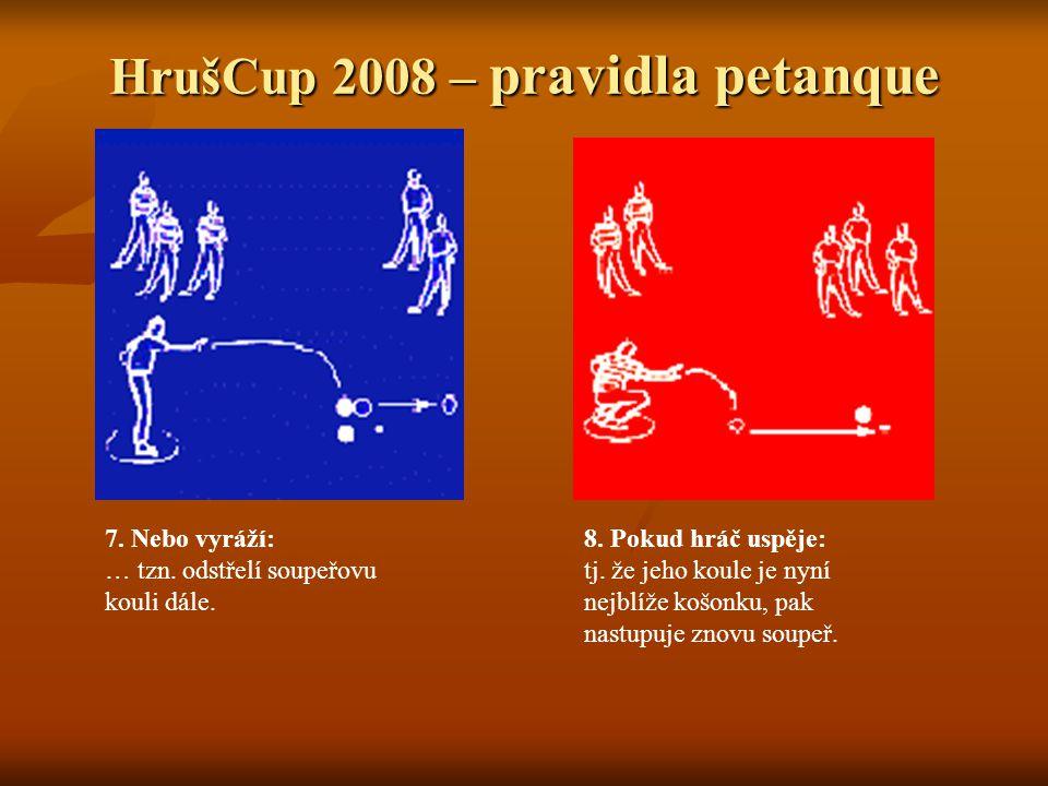 HrušCup 2008 – pravidla petanque 7. Nebo vyráží: … tzn.