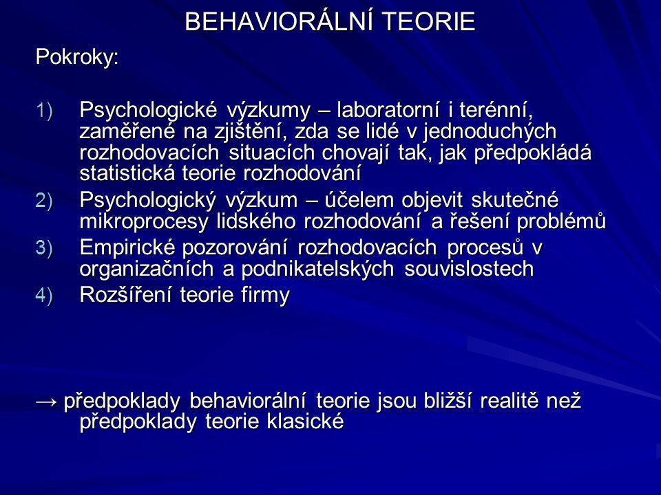 BEHAVIORÁLNÍ TEORIE Pokroky: 1) Psychologické výzkumy – laboratorní i terénní, zaměřené na zjištění, zda se lidé v jednoduchých rozhodovacích situacíc