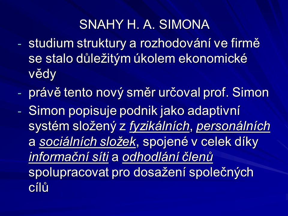 SNAHY H. A. SIMONA - studium struktury a rozhodování ve firmě se stalo důležitým úkolem ekonomické vědy - právě tento nový směr určoval prof. Simon -