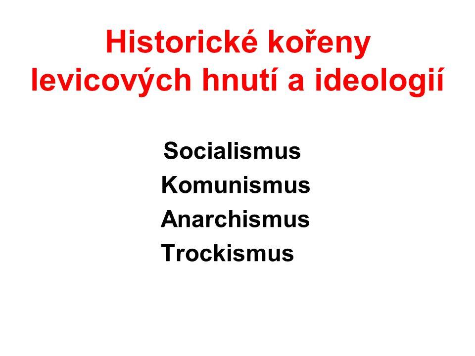 Historické kořeny levicových hnutí a ideologií Socialismus Komunismus Anarchismus Trockismus