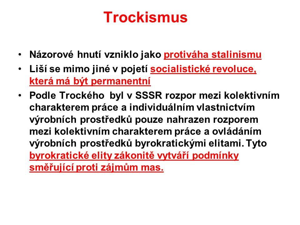 Trockismus Názorové hnutí vzniklo jako protiváha stalinismu Liší se mimo jiné v pojetí socialistické revoluce, která má být permanentní Podle Trockého