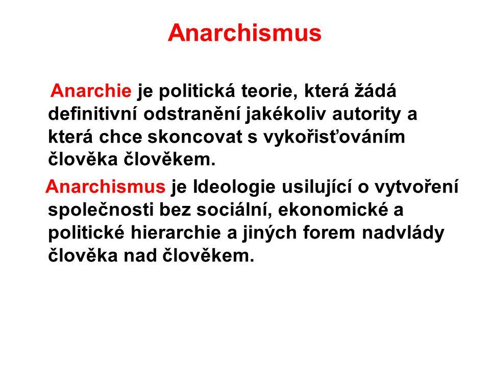 Anarchismus Anarchie je politická teorie, která žádá definitivní odstranění jakékoliv autority a která chce skoncovat s vykořisťováním člověka člověke