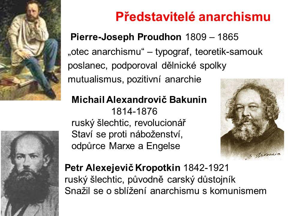 """Představitelé anarchismu Pierre-Joseph Proudhon 1809 – 1865 """"otec anarchismu"""" – typograf, teoretik-samouk poslanec, podporoval dělnické spolky mutuali"""