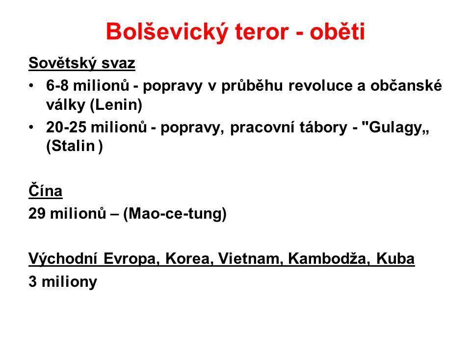 Bolševický teror - oběti Sovětský svaz 6-8 milionů - popravy v průběhu revoluce a občanské války (Lenin) 20-25 milionů - popravy, pracovní tábory -