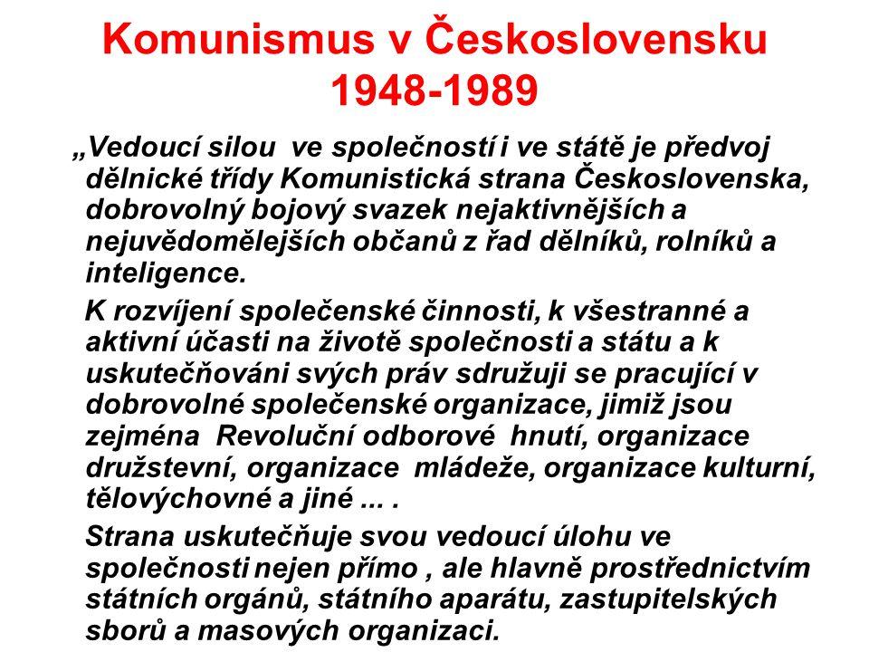 """Komunismus v Československu 1948-1989 """"Vedoucí silou ve společností i ve státě je předvoj dělnické třídy Komunistická strana Československa, dobrovoln"""