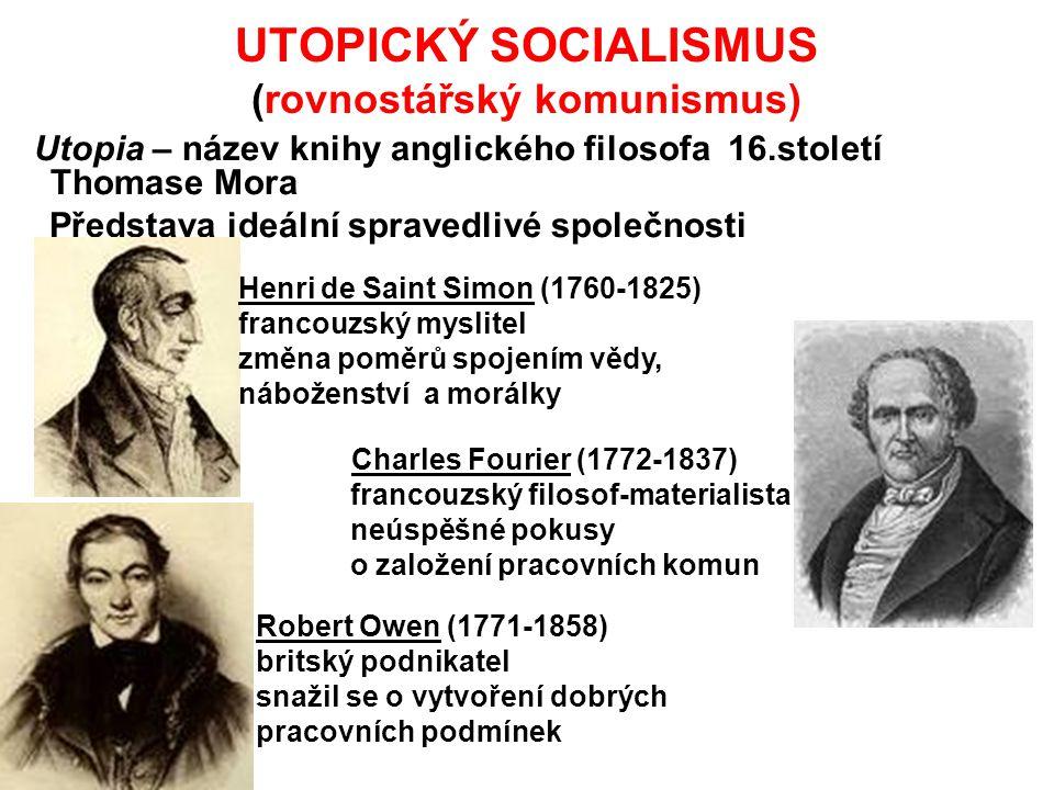 UTOPICKÝ SOCIALISMUS (rovnostářský komunismus) Utopia – název knihy anglického filosofa 16.století Thomase Mora Představa ideální spravedlivé společno