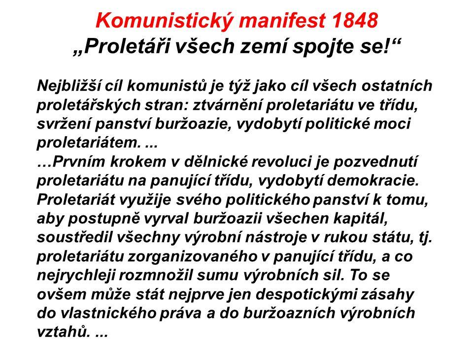 """Komunistický manifest 1848 """"Proletáři všech zemí spojte se!"""" Nejbližší cíl komunistů je týž jako cíl všech ostatních proletářských stran: ztvárnění pr"""