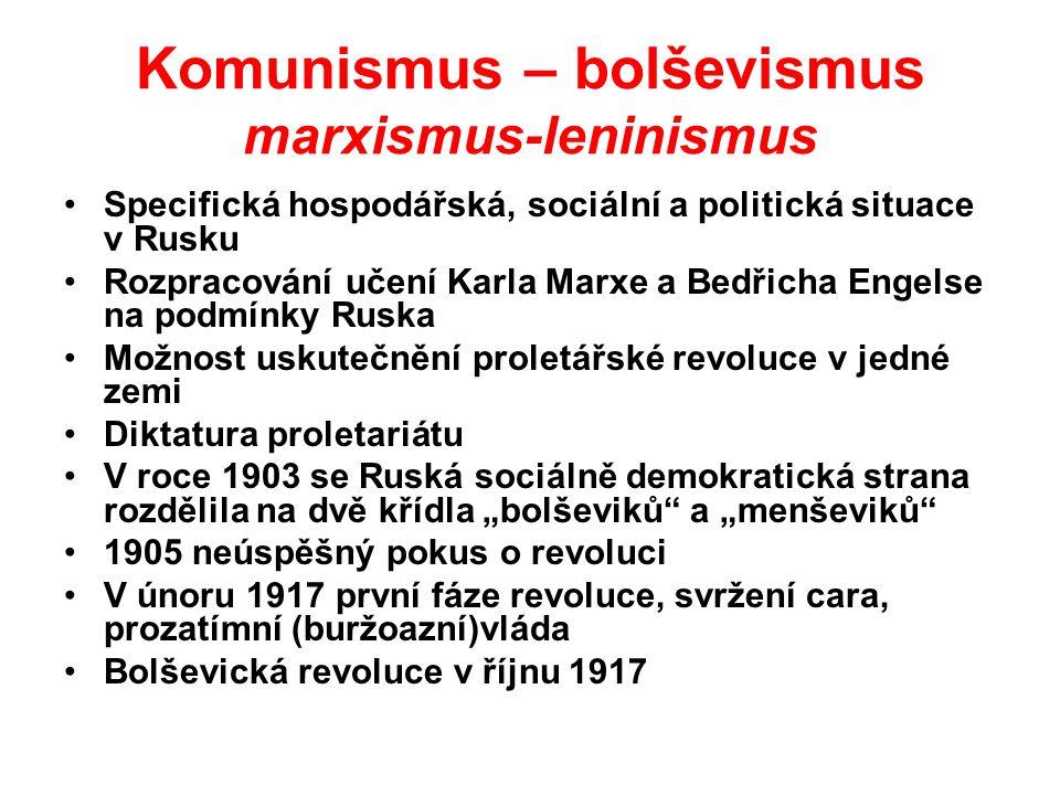 """Bolševický teror - oběti Sovětský svaz 6-8 milionů - popravy v průběhu revoluce a občanské války (Lenin) 20-25 milionů - popravy, pracovní tábory - Gulagy"""" (Stalin ) Čína 29 milionů – (Mao-ce-tung) Východní Evropa, Korea, Vietnam, Kambodža, Kuba 3 miliony"""