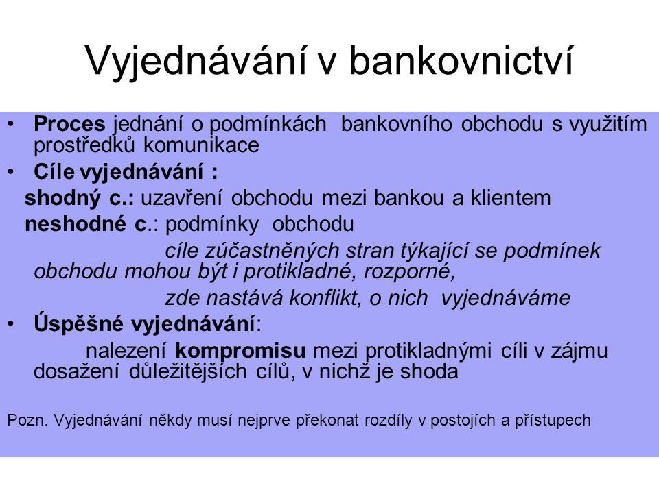 5.10. 20051kap.11 Vyjednávání v bankovnictví Proces jednání o podmínkách bankovního obchodu s využitím prostředků komunikace Cíle vyjednávání : shodný