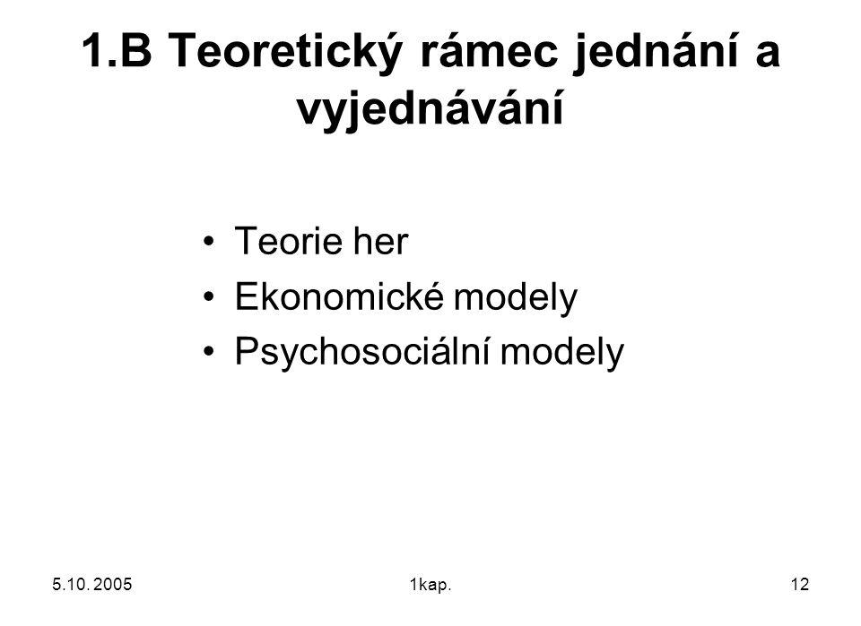 5.10. 20051kap.12 1.B Teoretický rámec jednání a vyjednávání Teorie her Ekonomické modely Psychosociální modely