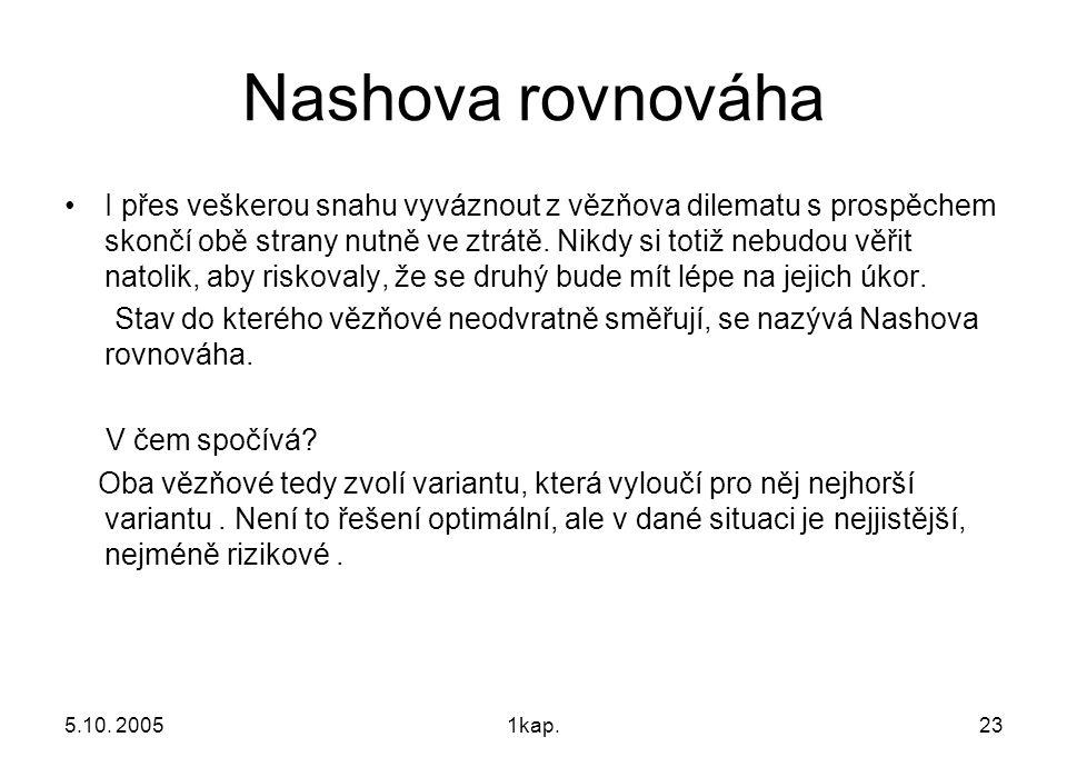 5.10. 20051kap.23 Nashova rovnováha I přes veškerou snahu vyváznout z vězňova dilematu s prospěchem skončí obě strany nutně ve ztrátě. Nikdy si totiž