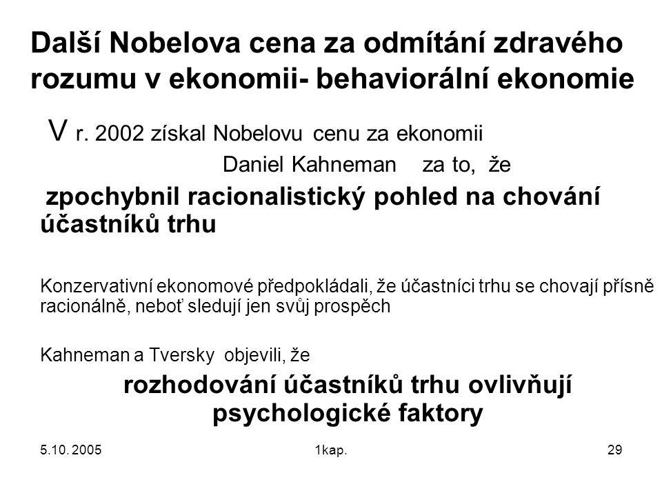 5.10. 20051kap.29 Další Nobelova cena za odmítání zdravého rozumu v ekonomii- behaviorální ekonomie V r. 2002 získal Nobelovu cenu za ekonomii Daniel