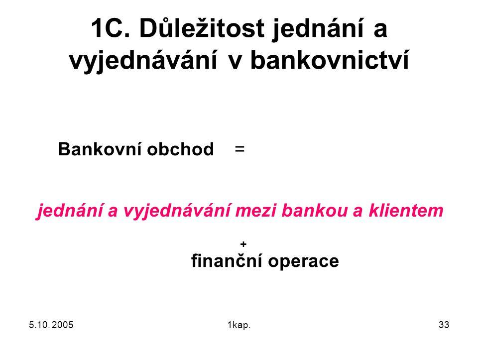 5.10. 20051kap.33 1C. Důležitost jednání a vyjednávání v bankovnictví Bankovní obchod = jednání a vyjednávání mezi bankou a klientem + finanční operac