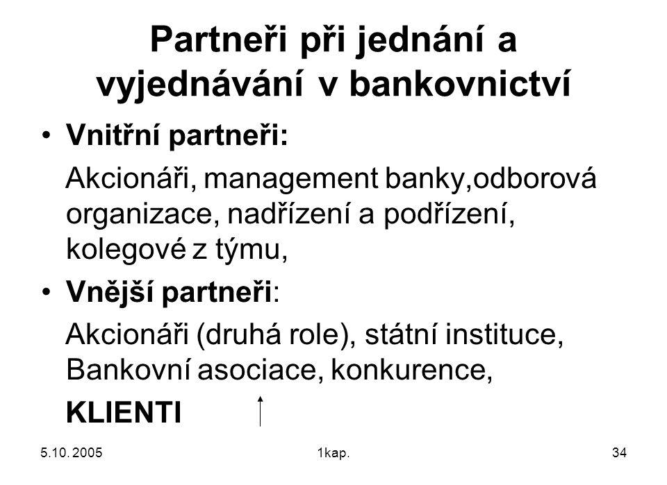 5.10. 20051kap.34 Partneři při jednání a vyjednávání v bankovnictví Vnitřní partneři: Akcionáři, management banky,odborová organizace, nadřízení a pod