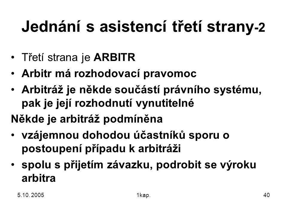 5.10. 20051kap.40 Jednání s asistencí třetí strany -2 Třetí strana je ARBITR Arbitr má rozhodovací pravomoc Arbitráž je někde součástí právního systém