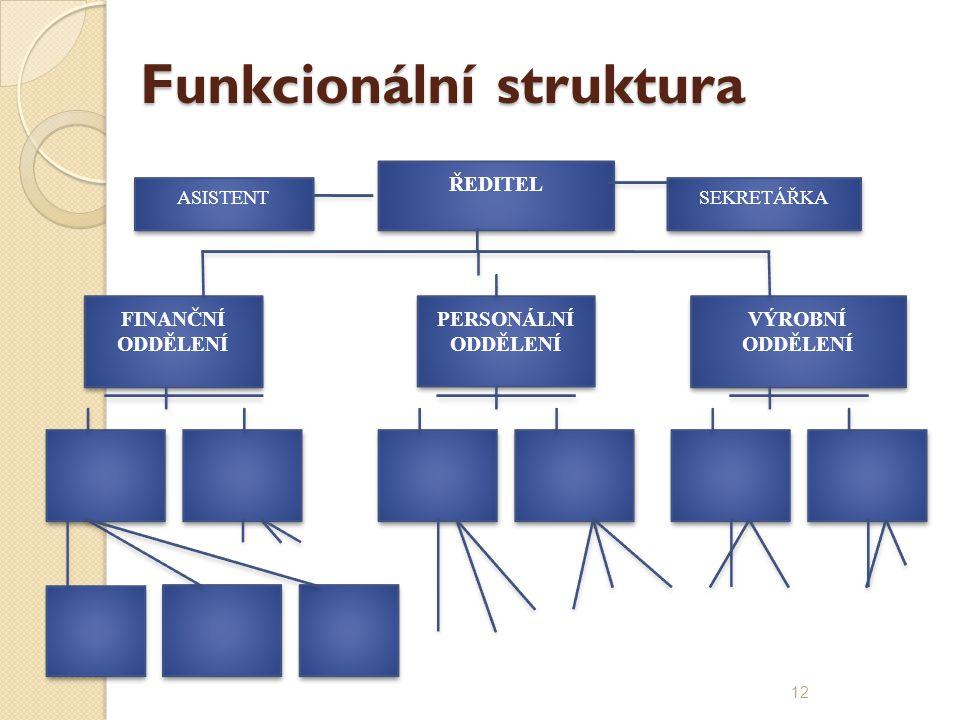 Funkcionální struktura ŘEDITEL FINANČNÍ ODDĚLENÍ PERSONÁLNÍ ODDĚLENÍ VÝROBNÍ ODDĚLENÍ ASISTENT SEKRETÁŘKA 12