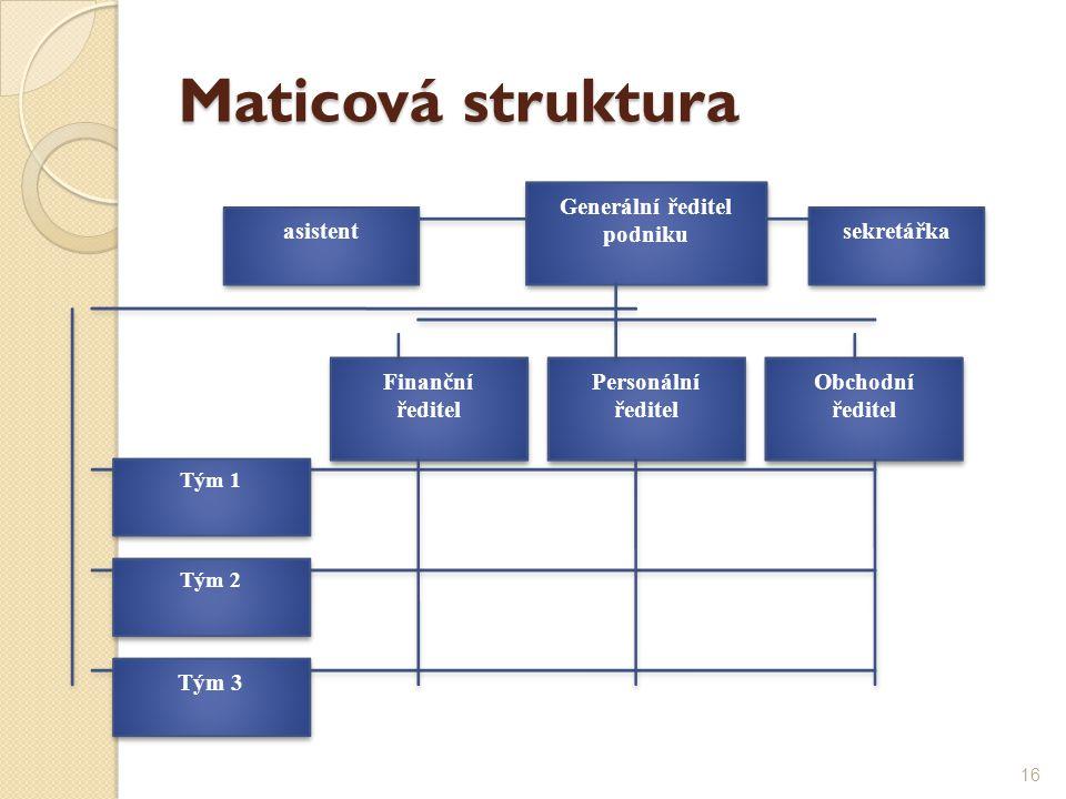Maticová struktura Generální ředitel podniku Finanční ředitel Personální ředitel Obchodní ředitel Tým 1 Tým 2 Tým 3 asistent sekretářka 16