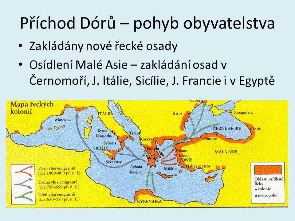 Příchod Dórů – pohyb obyvatelstva Zakládány nové řecké osady Osídlení Malé Asie – zakládání osad v Černomoří, J. Itálie, Sicílie, J. Francie i v Egypt
