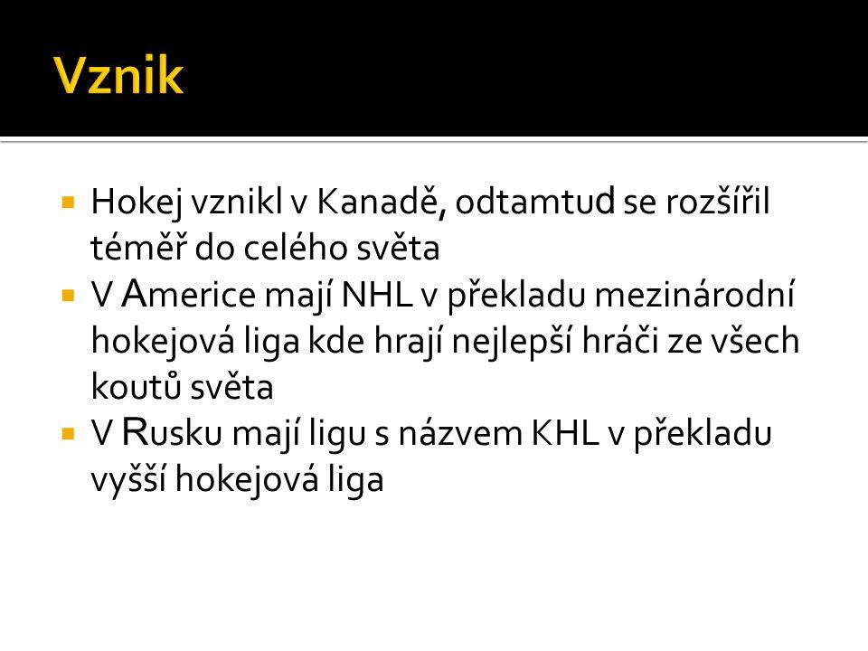  Hokej vznikl v Kanadě, odtamtu d se rozšířil téměř do celého světa  V A merice mají NHL v překladu mezinárodní hokejová liga kde hrají nejlepší hráči ze všech koutů světa  V R usku mají ligu s názvem KHL v překladu vyšší hokejová liga