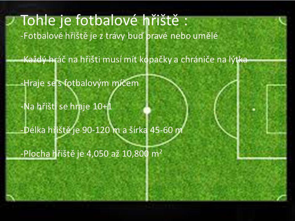 Tohle je fotbalové hřiště : -Fotbalové hřiště je z trávy buď pravé nebo umělé -Každý hráč na hřišti musí mít kopačky a chrániče na lýtka -Hraje se s f