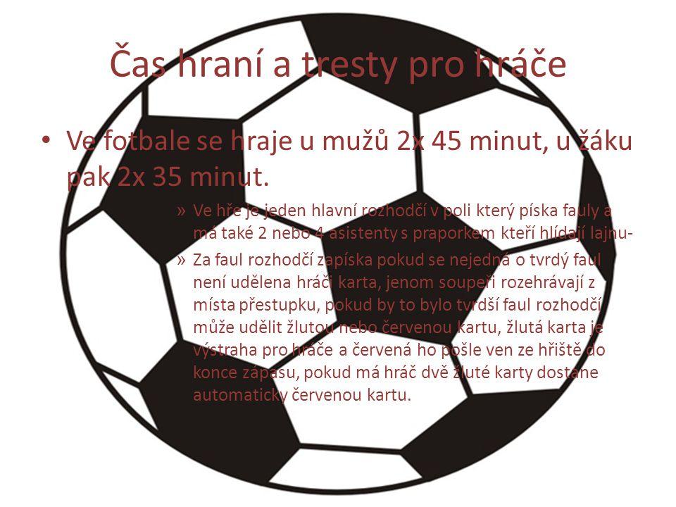Čas hraní a tresty pro hráče Ve fotbale se hraje u mužů 2x 45 minut, u žáku pak 2x 35 minut. » Ve hře je jeden hlavní rozhodčí v poli který píska faul