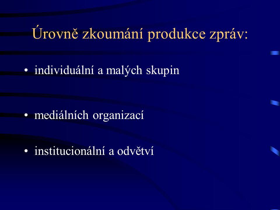 Úrovně zkoumání produkce zpráv: individuální a malých skupin mediálních organizací institucionální a odvětví