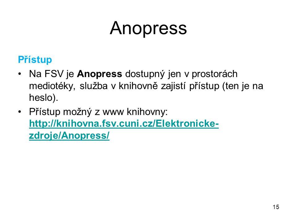 15 Anopress Přístup Na FSV je Anopress dostupný jen v prostorách mediotéky, služba v knihovně zajistí přístup (ten je na heslo). Přístup možný z www k