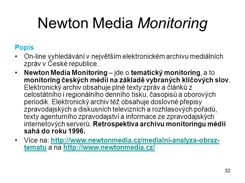 32 Newton Media Monitoring Popis On-line vyhledávání v největším elektronickém archivu mediálních zpráv v České republice. Newton Media Monitoring – j