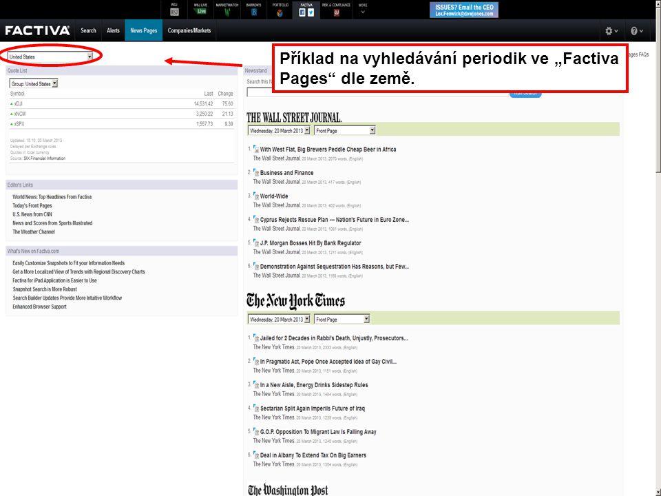 """43 Příklad na vyhledávání periodik ve """"Factiva Pages"""" dle země."""