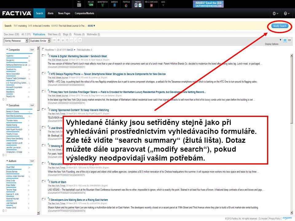 """45 Vyhledané články jsou setříděny stejně jako při vyhledávání prostřednictvím vyhledávacího formuláře. Zde též vidíte """"search summary"""" (žlutá lišta)."""