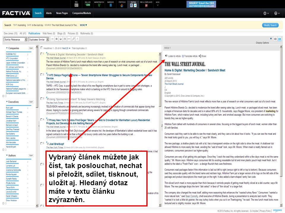 48 Vybraný článek můžete jak číst, tak poslouchat, nechat si přeložit, sdílet, tisknout, uložit aj. Hledaný dotaz máte v textu článku zvýrazněn.