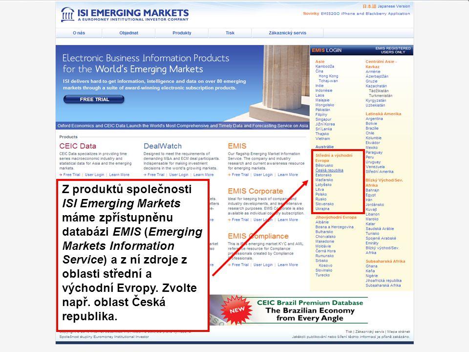 54 Z produktů společnosti ISI Emerging Markets máme zpřístupněnu databázi EMIS (Emerging Markets Information Service) a z ní zdroje z oblasti střední