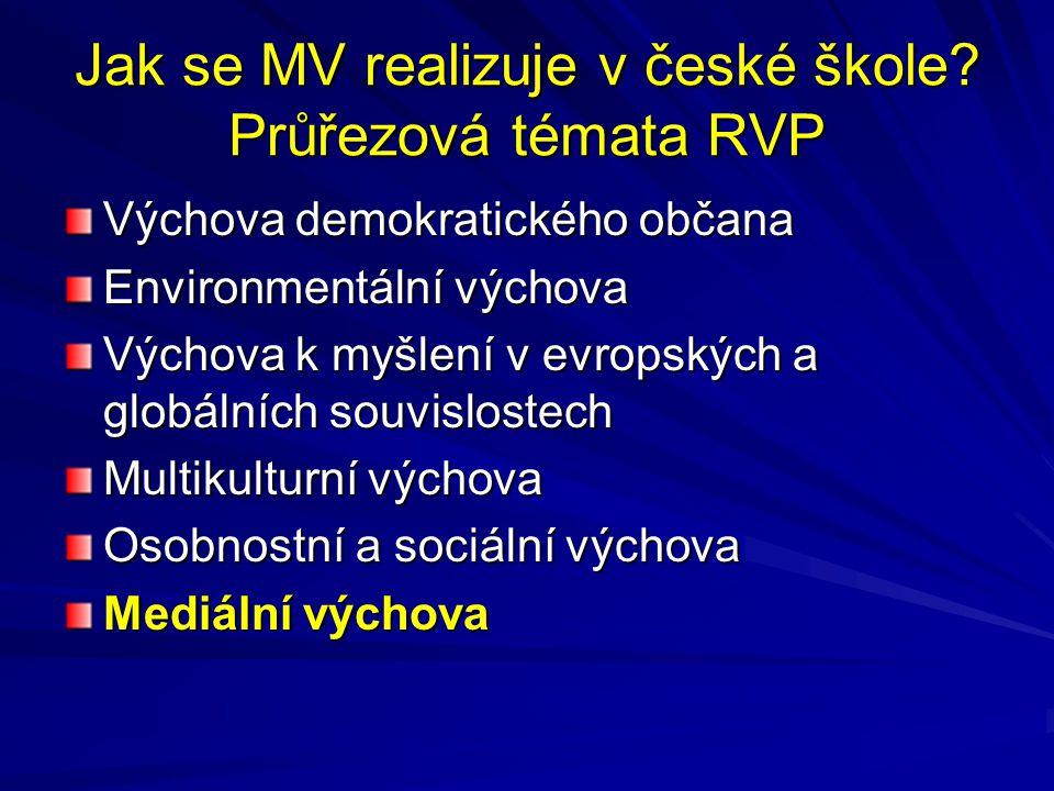 Jak se MV realizuje v české škole? Průřezová témata RVP Výchova demokratického občana Environmentální výchova Výchova k myšlení v evropských a globáln