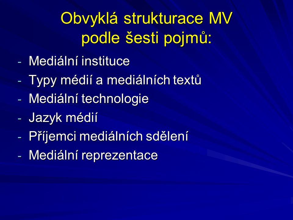 Obvyklá strukturace MV podle šesti pojmů: - Mediální instituce - Typy médií a mediálních textů - Mediální technologie - Jazyk médií - Příjemci mediáln