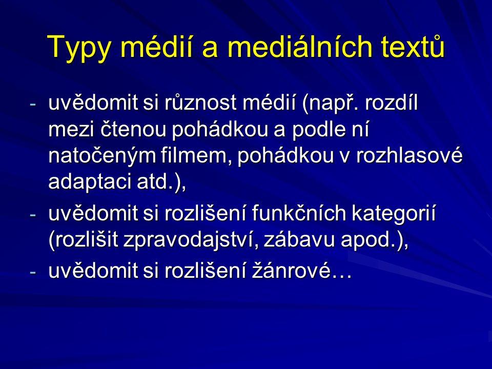 Typy médií a mediálních textů - uvědomit si různost médií (např. rozdíl mezi čtenou pohádkou a podle ní natočeným filmem, pohádkou v rozhlasové adapta