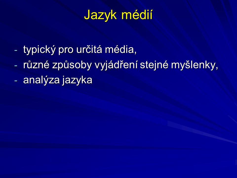 Jazyk médií - typický pro určitá média, - různé způsoby vyjádření stejné myšlenky, - analýza jazyka