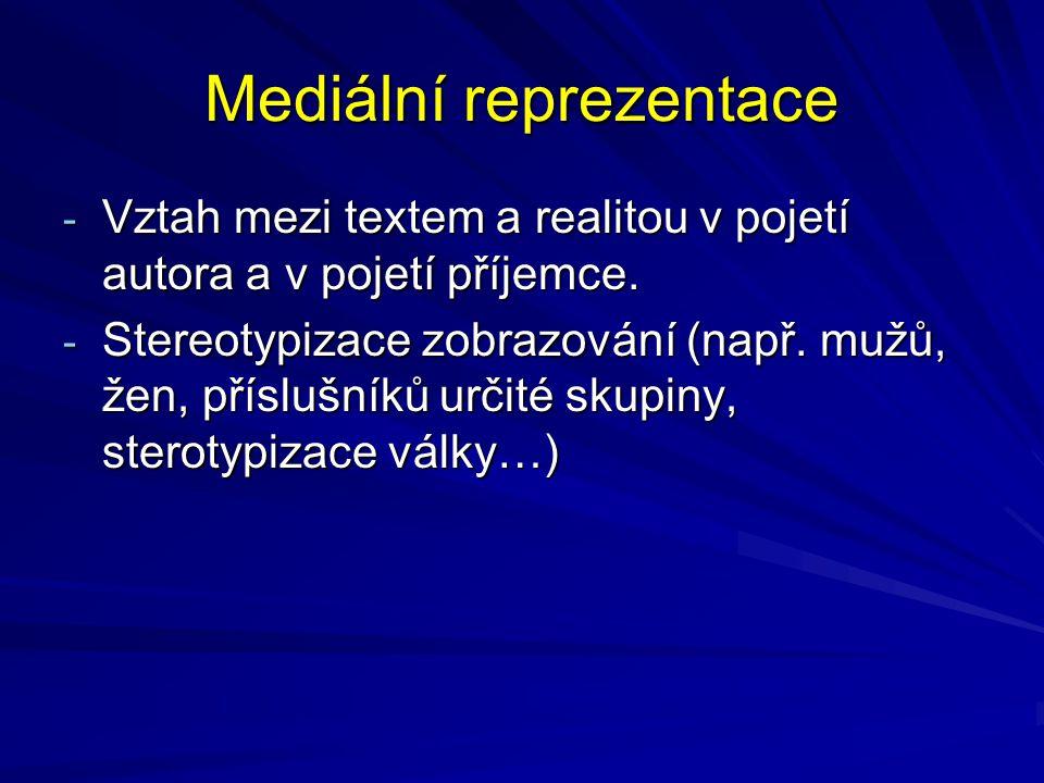Mediální reprezentace - Vztah mezi textem a realitou v pojetí autora a v pojetí příjemce. - Stereotypizace zobrazování (např. mužů, žen, příslušníků u