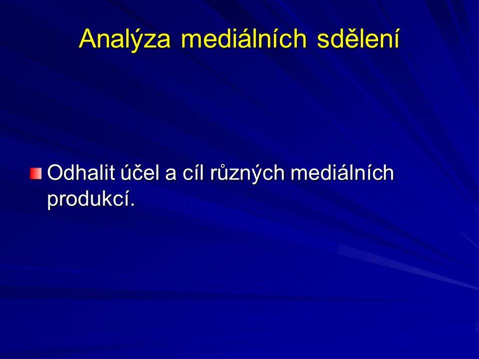 Analýza mediálních sdělení Odhalit účel a cíl různých mediálních produkcí.