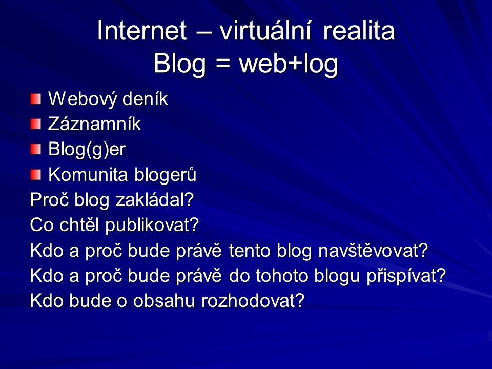 Internet – virtuální realita Blog = web+log Webový deník ZáznamníkBlog(g)er Komunita blogerů Proč blog zakládal? Co chtěl publikovat? Kdo a proč bude