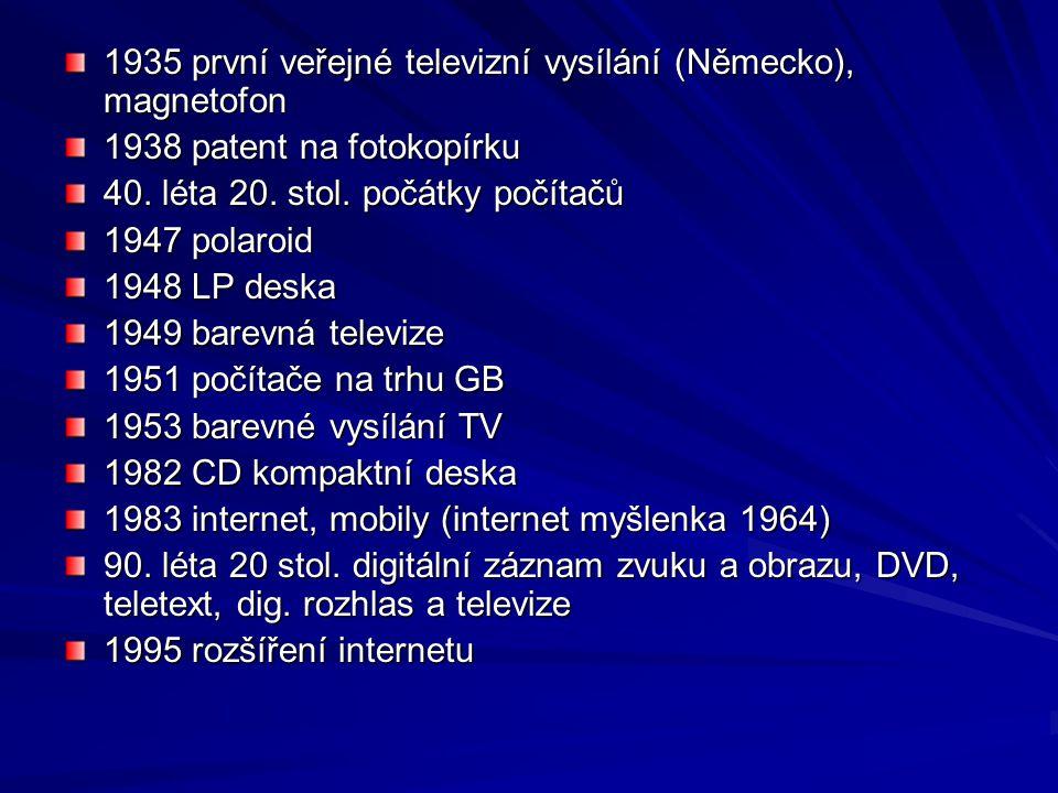1935 první veřejné televizní vysílání (Německo), magnetofon 1938 patent na fotokopírku 40. léta 20. stol. počátky počítačů 1947 polaroid 1948 LP deska