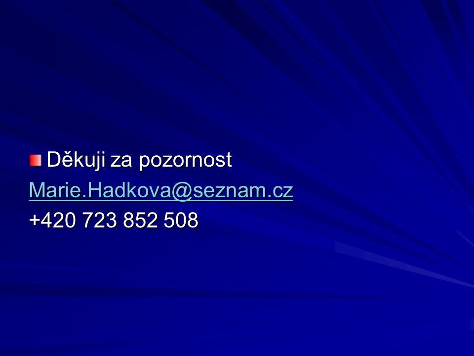 Děkuji za pozornost Marie.Hadkova@seznam.cz +420 723 852 508