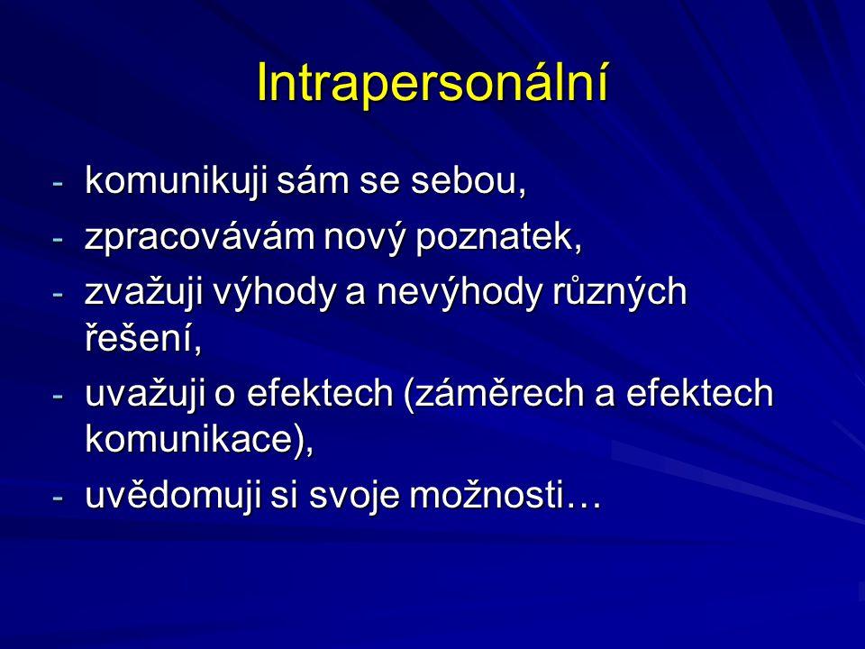 Interpersonální - dyadická (dva lidé), - triadická (tři)